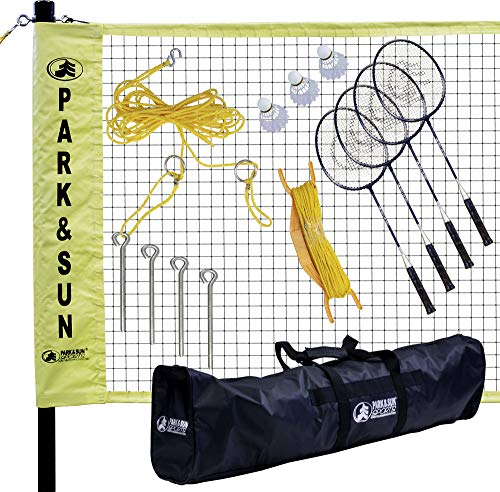 Park & Sun Sports Portable Indoor/Outdoor Badminton Net System with Carrying Bag and Accessories: Professional Series (Renewed)