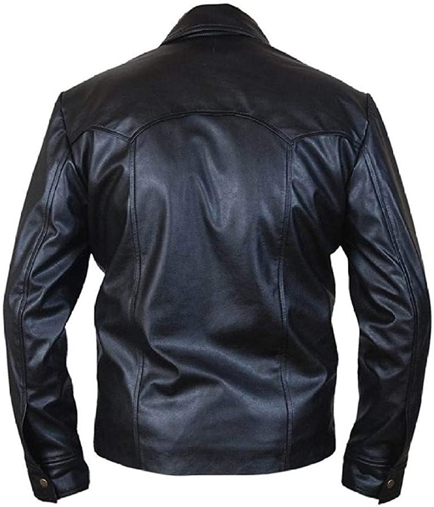 Stormwise Mens Fashion Sleek Design Special Button Closure Leather Jacket