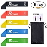 Resistance Bands Loop ( 5 Pack with Instruction Guide by PrettyCare ) Workout Exercise Fitness Band with Carry Bag, 100% Natural Latex, BPA free Loops for Pilates, Yoga, Strength Training, Stretching, Physical Therapy