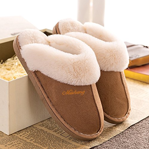 Womens Slipper Faux Fur Fluffy Slip-On House Suede Fur Lined/Anti-Skid Sole, Indoor & Outdoor, Light Brown, Asian39-40 Tag270/MS 40-41