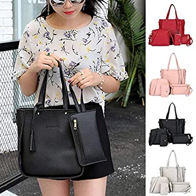 GuGio Women Shoulder Bags Set, 4 Pcs/Set Women Fashion Leather Zipper Handbag Solid Shoulder Messenger Bag Purse (4 Colors)
