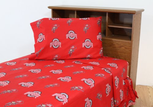 College Covers Ohio State Buckeyes Printed Sheet Set - Twin - Solid