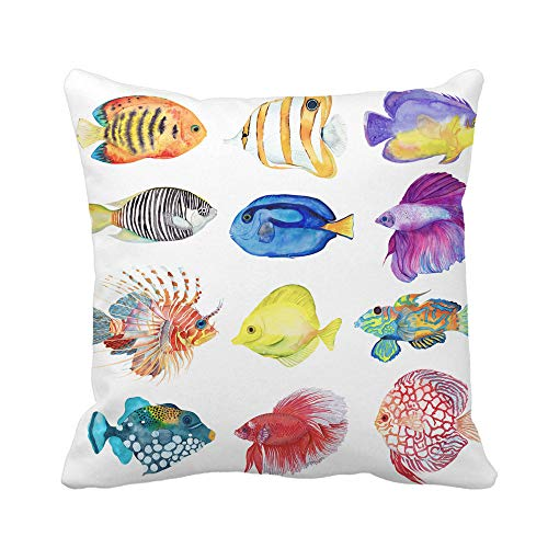 Awowee Throw Pillow Cover Watercolor Colorful Fishes Flame Angelfish Copperband Butterflyfish Purple Mask 16x16 Inches Pillowcase Home Decorative Square Pillow Case Cushion ()