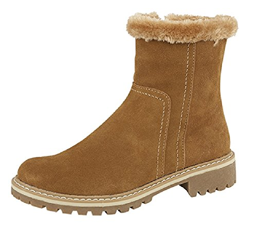 Thermal Zipped Winter Womens Faux Fur Tan Lined Boots zqwIEXnIr