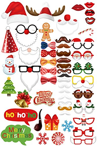 Moreteam Christmas Photo Booth Props Mask 52-Piece DIY Kit with 4-Piece (Christmas Masks)