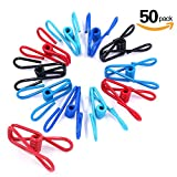 Swpeet 50 Pieces Multi-purpose Metal Wire Clip Windproof Clothespin Metal Clips Holders for Office Clothes Baby Diaper Metal Peg Clips Pins Hanging Clips Hooks - 5 Colors