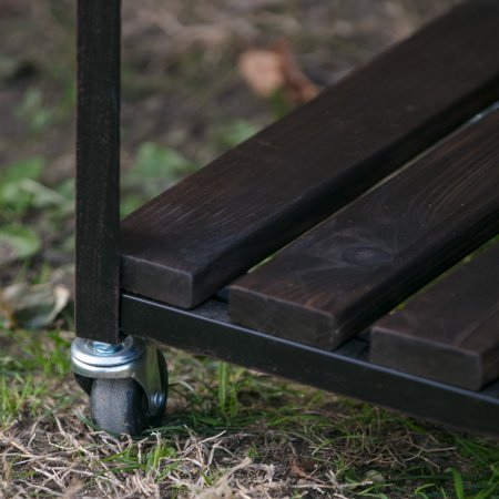 By BeauGarden Garden Potting Bench,Wood and Metal, Bottom Shelf,Dark Brown Wood Finish