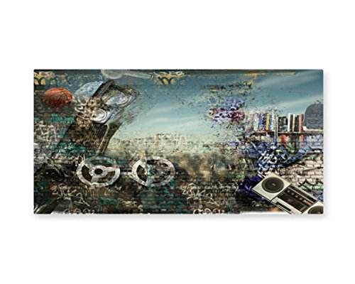 Lunarable Music Wall Art, Background in the Style of Hip Hop and Grunge Illustration Tape and Ball Print, Gloss Aluminium Modern Metal Artwork for Wall Decor, 23.5 W X 11.6 (Hip Hop Costume Images)