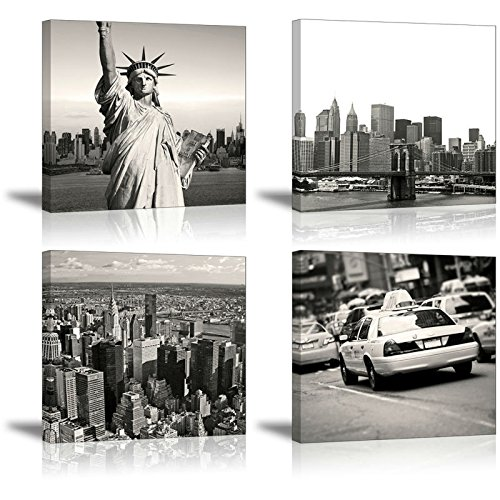 New York Wall Art for Bedroom, SZ Urban NY City Picture Print on Canvas, Landmark Landscape Home Decorations (Waterproof Artwork, 1