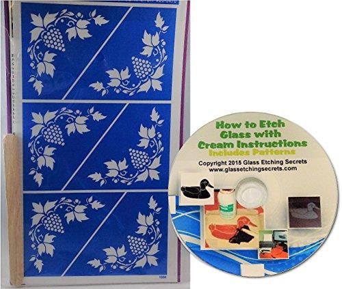 Grape Corner Glass Etching Stencil Designs, Wine Stencils + Free How to Etch CD (Stencil Cd Designs)
