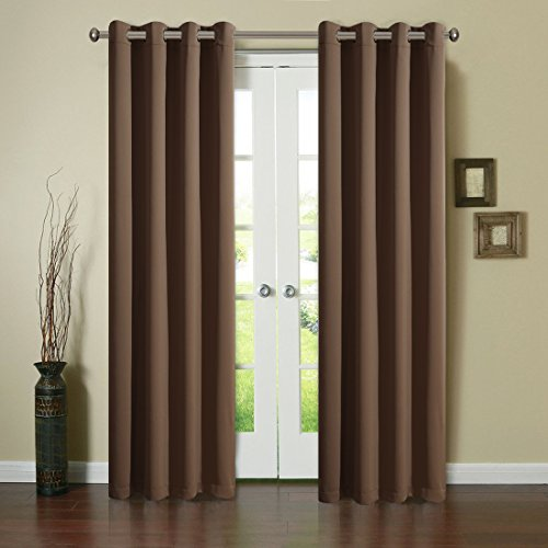 Blackout Window Curtain Panel Grommet Top Drapes 2 Panel Set Room Darkening Thermal Insulated Blackout Window Treatments (52X95inch,Brown)