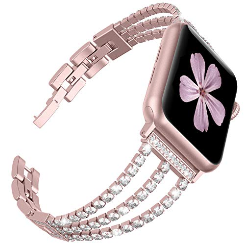 TOYOUTHS Compatible for Apple Watch Band 38mm Rose Gold Bling Jewelry Stainless Steel Wristband Bracelet Women Compatible for iWatch Bands 40mm Womens Series 3 2 1 4 5 40mm(Rose Gold, 38mm/40mm)