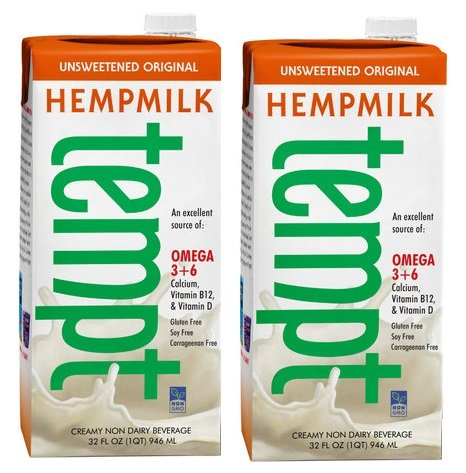Tempt Unsweetened Original Hemp Milk - Creamy Non-Dairy Milk Alternative - 32 Ounce Each (Pack of 2) by Living Harvest