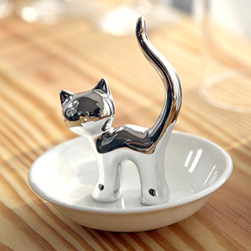 PUDDING CABIN Silver Cat Ring Holder Ring Dish Jewelry Holder Rings Bracelets Earrings Trinket Tray for Women Girls Birthday Gift ()