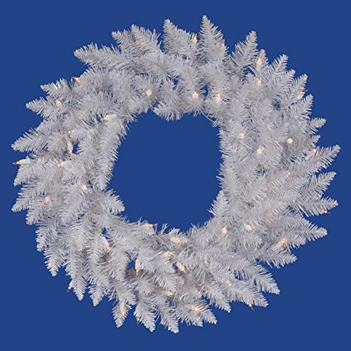 Vickerman Pre-Lit Sparkle White Spruce Artificial Christmas Wreath with Clear Lights, 36