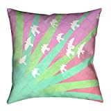 ArtVerse Katelyn Smith Birds and Sun Green and Pink Ombre Floor Pillows Double Sided Print with Concealed Zipper & Insert, 40'' x 40''