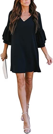 Women's V-Neck Bell Sleeve Mini Dress
