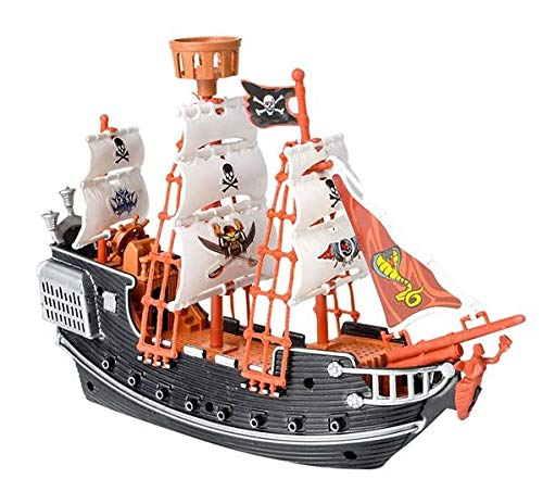 (Neliblu Pirate Raiders Ship for Kids - Black and Red Pirate Toy Ship)
