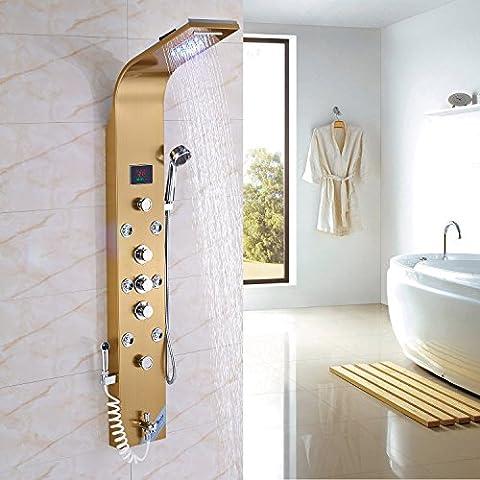 Rozin 6 Functions Thermostatic Control LED Light Rain Waterfall Shower Panel Set Tub Tap+Massage Body Jets+Handheld Spray Gold - 6 Jets Massage Shower Panel