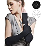 Womens Outdoor Sun Block Soft Long Arm Sleeve Fingerless Gloves for Driving/Party/Evening with Gift Packing (ONESIZE, Black (no packag box))