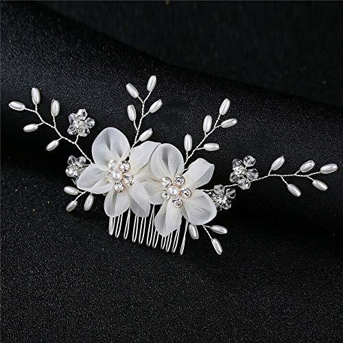 Wedding Crystal Crown Hair Combs Leaves Tiara Flower Hair Pin Bridal Clips (Size - 6)