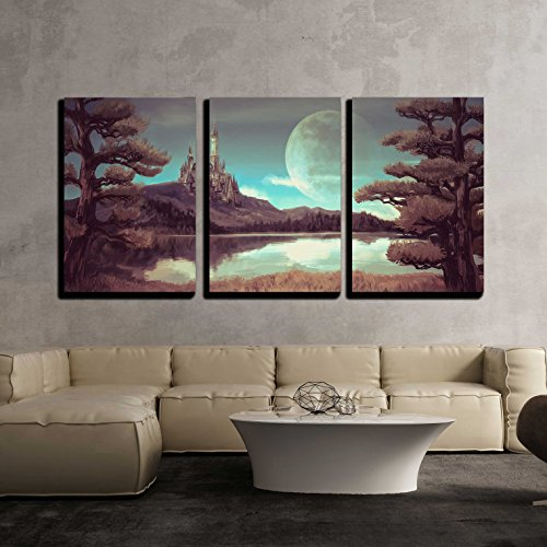 Illustration of a Natural Riverside Lake Forest Landscape with Ancient Medieval Castle x3 Panels