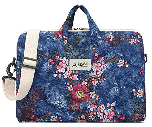 Price comparison product image Mikelala Plum Blossom Laptop Shoulder Messenger Bag Briefcase Sleeve for iPad Pro 12.9 inch, MacBook Air 13, MacBook Pro 13, Surface Book 13.5 inch, Surface Laptop 13.5 Inch and 13 inch-13.5 Inch Laptop