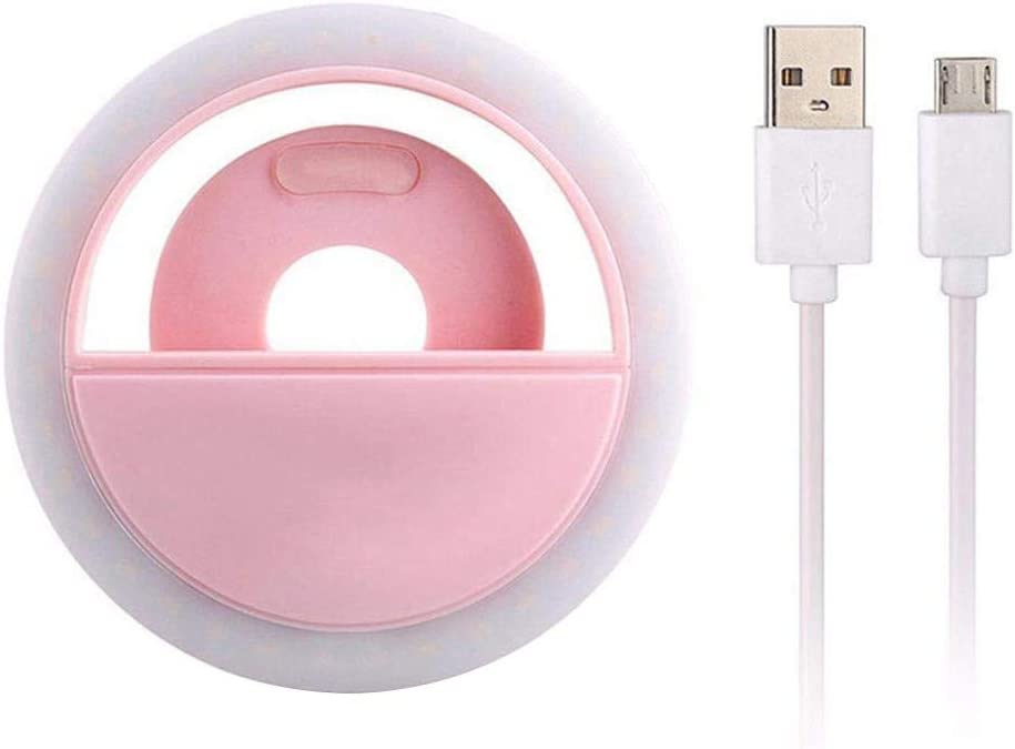 Migugu Portable Selfie Light Ring Lights LED Circle Light Cell Phone Laptop Camera Photography Video Lighting Clip USB Charge Pink