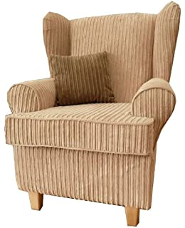 Beige Jumbo Cord Queen Anne Design Wing Back Fireside High Back Chair.  Ideal Bedroom Or