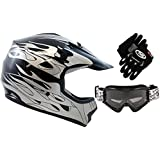 TMS Youth Kids Black Flame Dirtbike Off-Road ATV Motocross Helmet MX+Goggles/