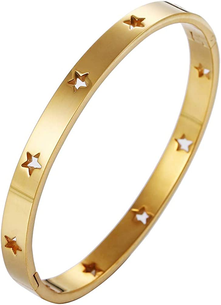 Stashix Stainless Steel Bracelet Classical Plain Cuff Stars Bangle Classical Plain Cuff for Women Men Girls
