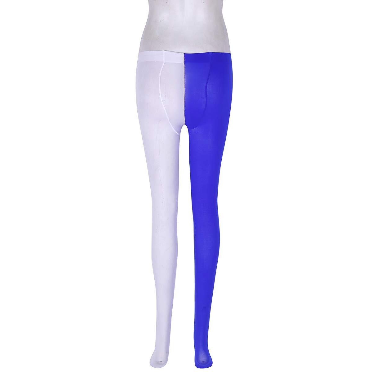TiaoBug Unisexe Homme Femme Bicolore Collant Legging de Danse Yoga Bas de  Sport Collant de Gymnastique Longue Chaussette Costume de Bouffon Blanc    Bleu ... bb843caf4aad