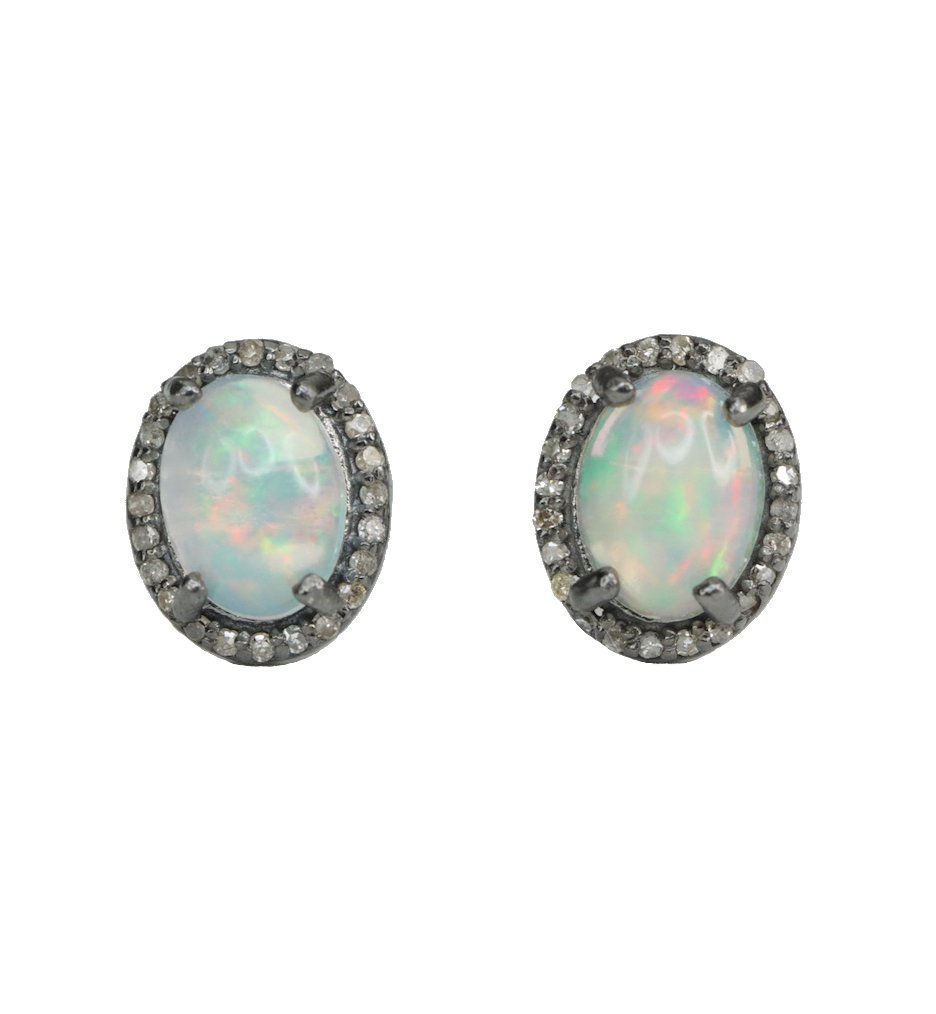 White Opal Pave Diamond Stud Earring Oxidized Sterling Silver Genuine Ethiopian opal gemstone - 10mm