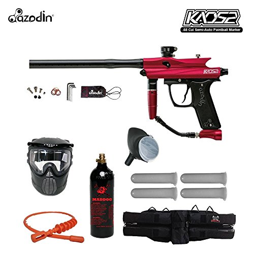 Double Trigger Paintball Guns - Azodin Kaos 2 Silver Paintball Gun Package - Red/Black