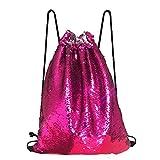 Alritz Mermaid Sequin Drawstring Bag, Reversible Sequin Backpack Glittering Outdoor Shoulder Bag Girls Boys Women (Rose Pink/Silver)