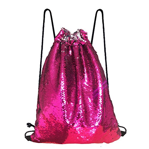 Pink Reversible Carrier - Alritz Mermaid Sequin Drawstring Bag, Reversible Sequin Backpack Glittering Outdoor Shoulder Bag Girls Boys Women (Rose Pink/Silver)