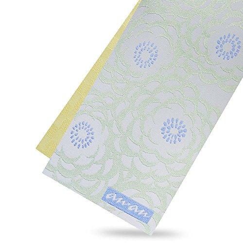 天井センタースナップan-an アンアン 半巾帯 水色 アイスグレー 黄 牡丹