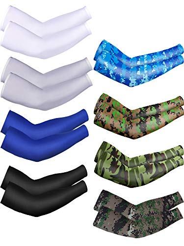 Mudder 8 Pairs Unisex UV Protection Arm Cooling Sleeves Ice Silk Arm Cover(8-Colors Set 4)