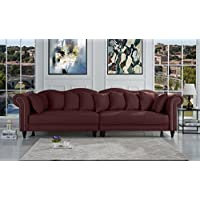Classic Linen Chesterfield Scroll Arm Large Living Room Sofa (Rose Red)