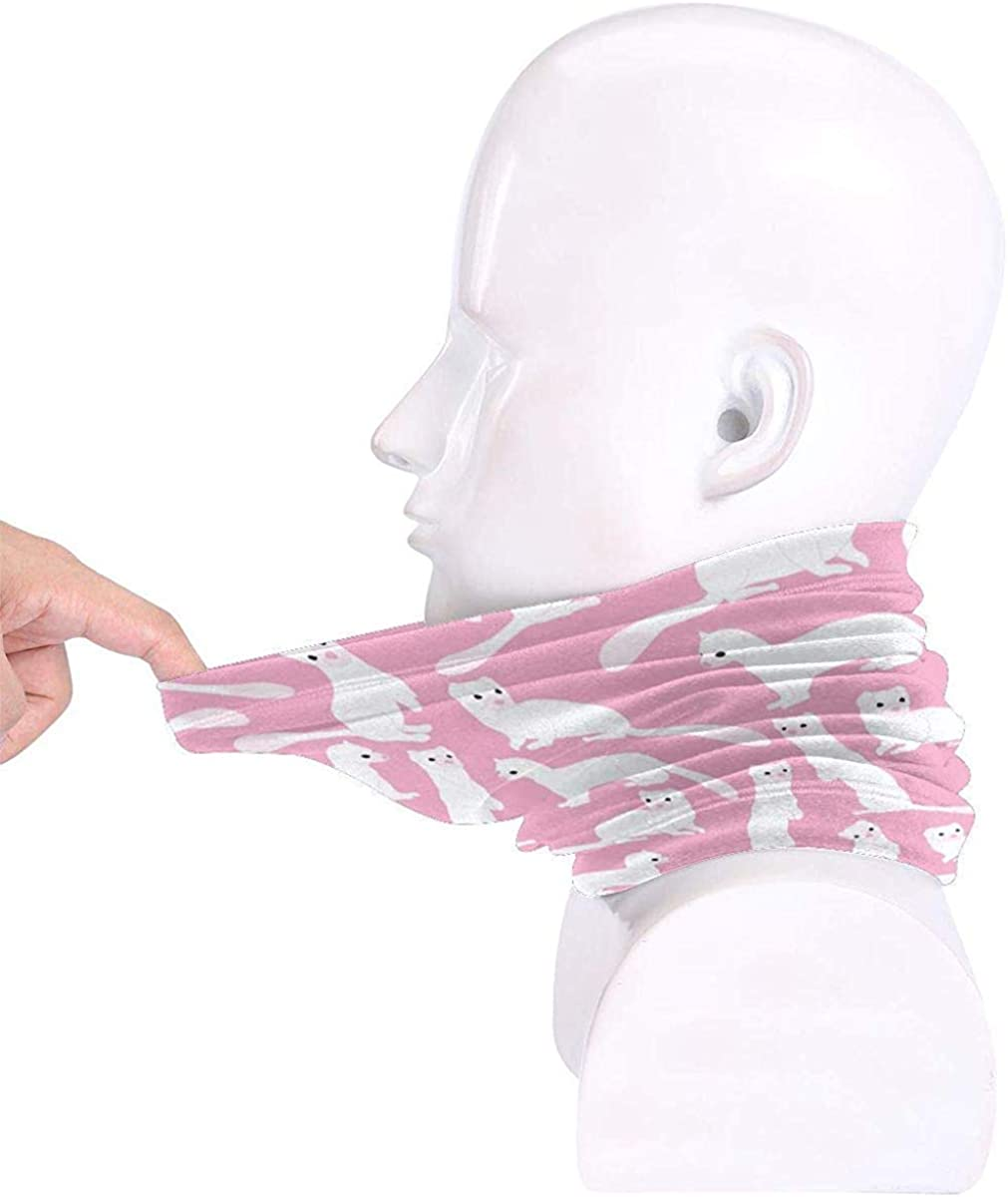 White Weasel Microfiber Neck Warmer Balaclavas Soft Fleece Headwear Face Scarf Mask for Winter