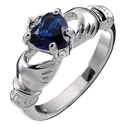 Sterling Silver, Irish Claddagh September Birthstone With Sapphire Blue 4 Prong Set 9mm 2ct CZ Heart, Promise Engagement Wedding Band Ring