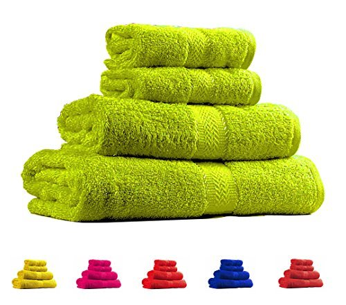 Hand Bright Green (Trident Soft and Light 100% Combed Cotton 400 GSM 4-Pieces (Bath & Hand) Towel Gift Set, Bright Green)