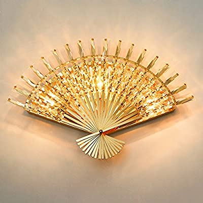 Creative Living Room Fan Crystal Wall Lamp Bedroom Bedside Lamp Aisle Corridor Staircase Wall Light ( Design : 45-1 )