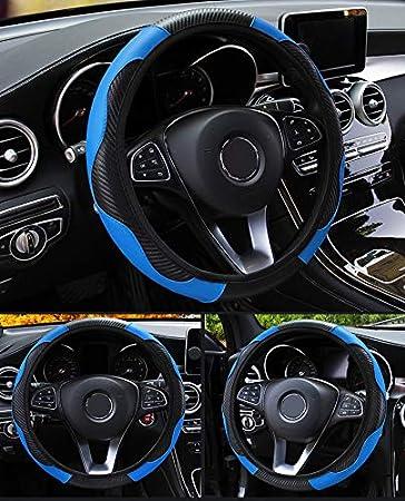 Coprivolante per auto con design goffrato antiscivolo automatico Coprivolante per auto antiscivolo traspirante universale per sterzo adatto 37-38cm Decorazioni per auto in fibra di carbonio