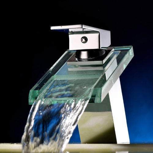 Widespread Waterfall Bathroom Sink Faucet with Glass Spout Chrome Finish Deck Mount Vessel Sink Vanity Bathtub Mixer Taps