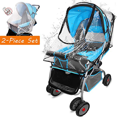 (Universal Stroller Rain Cover, Weather Shield with Net for Baby Travel Windproof, Waterproof)