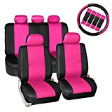 2004 4runner dash cover black - FH GROUP PU023115 Synthetic Leather Seat Covers , Airbag & Split Ready w. Steering Wheel Cover & Seat Belt Pads + FREE GIFT, Pink / Black Color- Fit Most Car, Truck, Suv, or Van