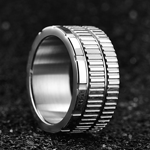 King Will 10.6mm 316 Stainless Steel Wedding Band Ring with Sawtooth Pattern Curved in Base&Inner Surface Matte(10) by King Will (Image #2)