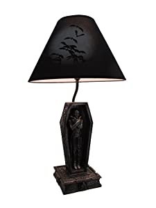Dark Dawning Vampire in the Coffin Black Table Lamp and Fabric Shade