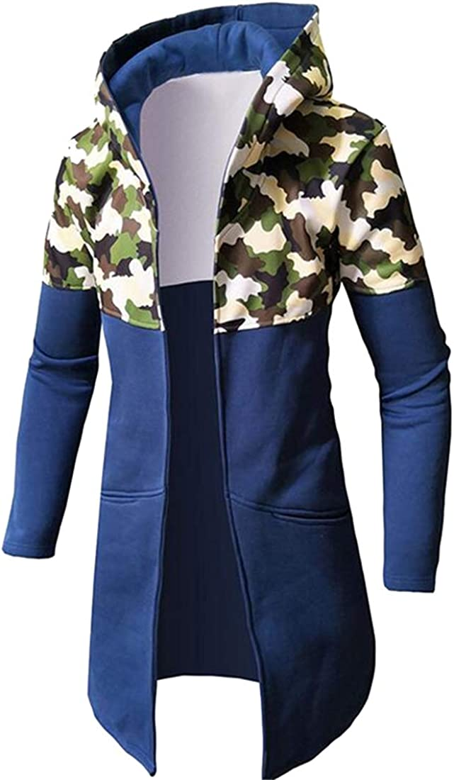 Bravepe Mens Cardigan Coat Mid Length Camouflage Plus Size Hoodie Trench Coat Jacket Overcoat